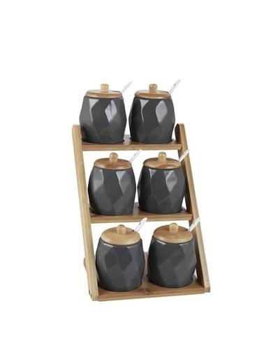 Acar YAM-010882/6 Acar Lavin 6'Lı Bambu Standlı Porselen Baharat Takımı-Füme Yam-010882/6 Renkli